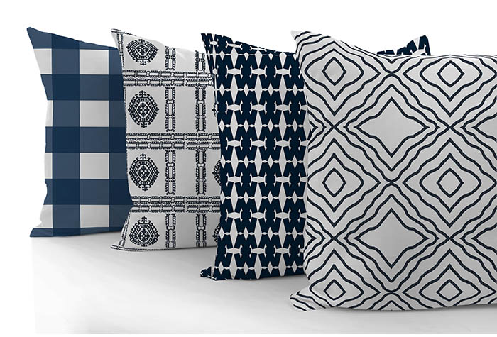 blue throw pillows designed by Amy Moore