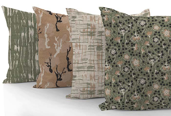 custom pillows featuring fabrics by Ludmila Linhartova Designs