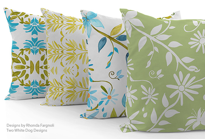 custom pillows featuring fabrics by Rhonda Fargnoli