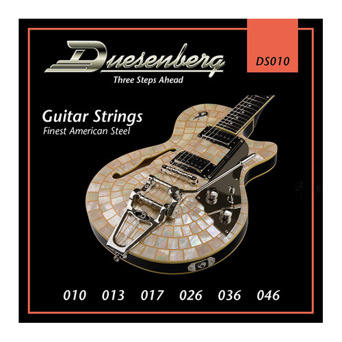 Duesenberg strings - The real deal. Because if you want good tone, you need good strings.  Gauge: 010   013   017   026   036   046 Finest Steel Strings made in USA - nickel wound.