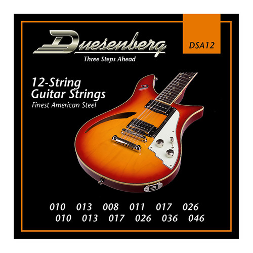 Duesenberg strings - The real deal. Because if you want good tone, you need good strings.  Set for 12-String guitars as used on all Duesenberg 12-String models. Gauge: 010 - 010   013 - 013   008 - 017   011 - 026   017 - 036   026 - 046 Finest Steel Strings made in USA - nickel wound.
