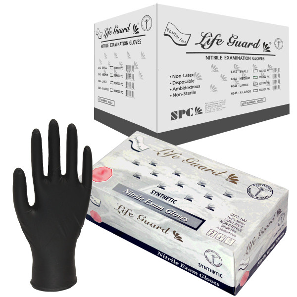 Life Guard Powder-Free Nitrile Exam Gloves: Black/X-Large