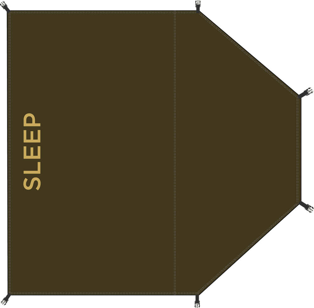 Sleeping bay groundsheet layout
