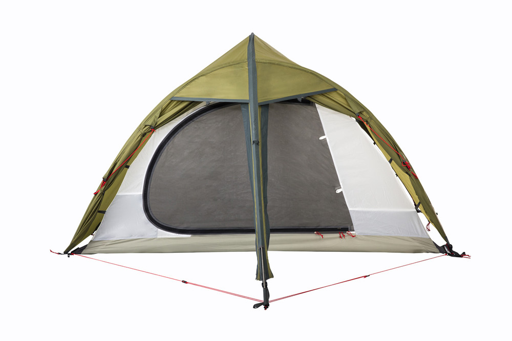 The Hawk II Tent from Redverz showing sleep area door mosquito mesh panel.