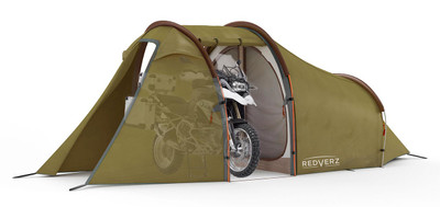 Redverz Motorcycle Tent - Atacama Expedition Tent in Green. Main garage doors open, fits full size adventure motorcycle or full bagger. Shown with BMW R1200GS in garage bay