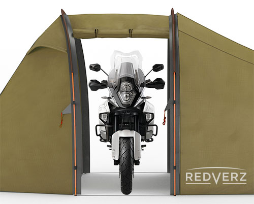 Huge Vestibule in Redverz Atacama for Full Size adventure bike