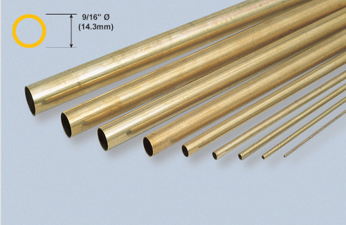 "K&S 141 Brass 9/16"" Round tube"