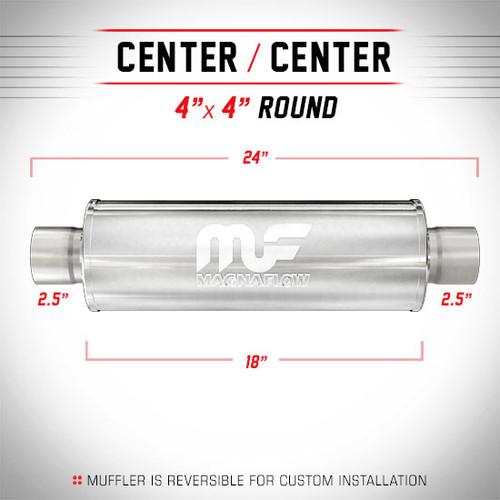 "Magnaflow 10426 | Satin Stainless Magnapack Resonator | 4"" x 4"" Round Body, 2.5"" Center/Center, 18"" Body Length"