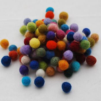 100% Wool Felt Balls - 100 Count - Assorted Colours - 1cm