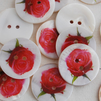 5 Natural Shell Buttons - Rose Flower - 2.5cm