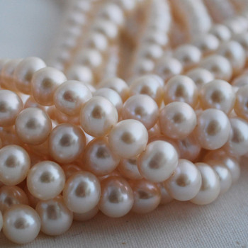 "16"" Strand Natural Freshwater Pearl Beads Round White 5 - 9mm Grade A"