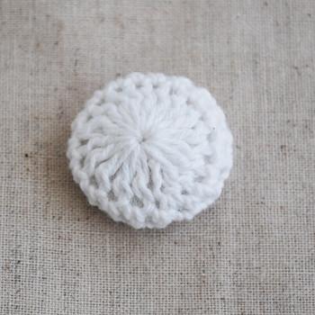 Handmade Crocheted Threads Covered Button - White - 2.2cm