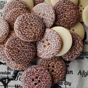10 Animal Print Wood Buttons - Yellow Leopard Print - 3cm