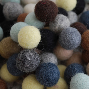 100% Wool Felt Balls - 100 Count - 2cm - Neutral Colours