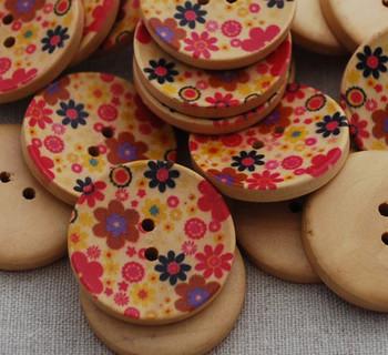 10 Floral Wood Buttons - Wild Flower Field - 3cm