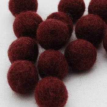100% Wool Felt Balls - 10 Count - 2cm - Dark Wine Red