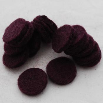 100% Wool Felt Die Cut Circles - 3cm - 10 Count - Aubergine Purple