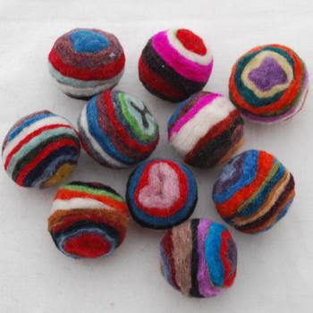 Assorted 100% Wool Striped Felt Balls - 10 Count - 2.5cm
