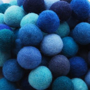 100% Wool Felt Balls - 100 Count - 2.5cm - Blue Colours