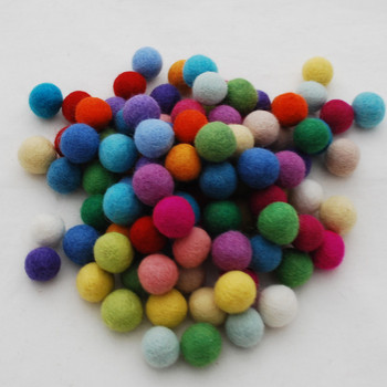 100% Wool Felt Balls - 100 Count - 2cm - Assorted Light and Bright Colours