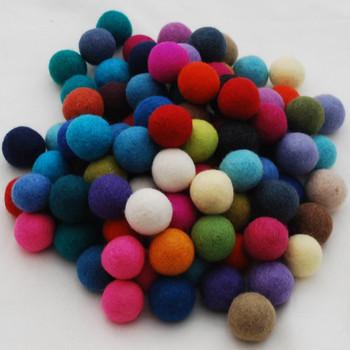 100% Wool Felt Balls - 100 Count - 3cm - Assorted Colours