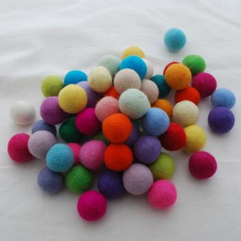 100% Wool Felt Balls - 100 Count - 3cm - Assorted Light Bright Colours