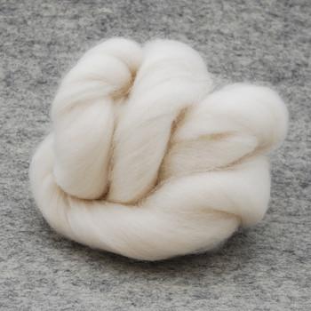 Organic Merino Wool Tops / Roving - Natural Ivory White - 100g
