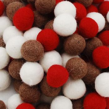 100% Wool Felt Balls - 100 Count - 1.5cm - Christmas Colours - 02