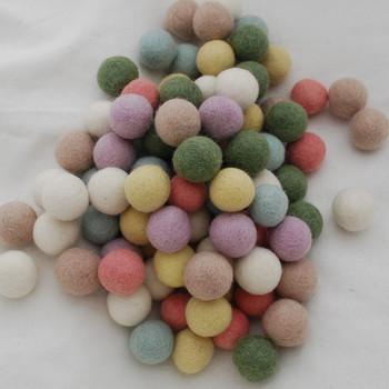 100% Wool Felt Balls - 100 Count - 3cm - Pastel Colours