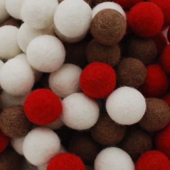 100% Wool Felt Balls - 100 Count - 3cm - Christmas Colours - 02