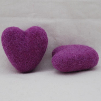 100% Wool Felt Heart - 6cm - Amethyst Purple