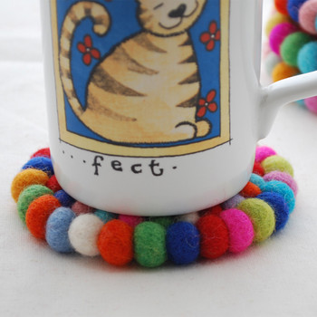 100% Wool Felt Ball Coaster - Handmade - Multi-colour