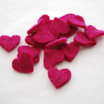 100% Wool Felt Heart Die Cut - 28mm - 10 Count - Azalea Pink