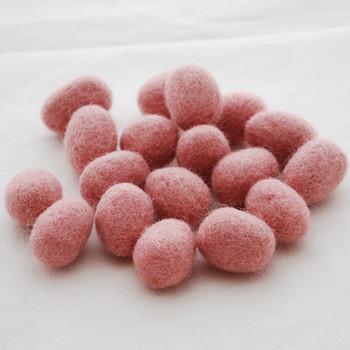 100% Wool Felt Egg - 10 Count - Dusty Rose Pink