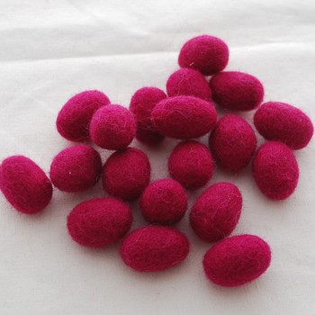 100% Wool Felt Egg - 10 Count - Azalea Pink