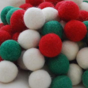 100% Wool Felt Balls - 100 Count - 3cm - Christmas Colours - 01