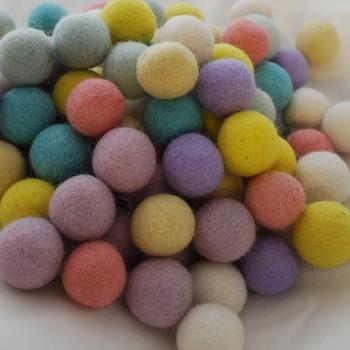 100% Wool Felt Balls - 100 Count - 3cm - Assorted Pastel Easter Colours