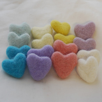 100% Wool Felt Hearts - 16 Count - Assorted Pastel Easter Colours