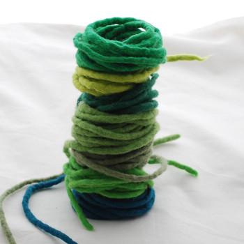 100% Wool Felt Cord - Handmade - Assorted Green Colours