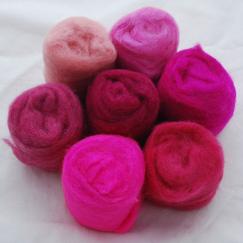 Wool Roving - Pink Colours - 175g