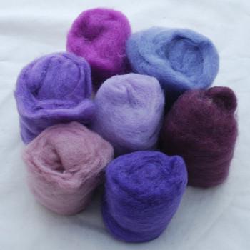 Wool Roving - Purple Colours - 175g
