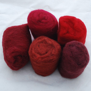 Wool Roving - Red Colours - 125g