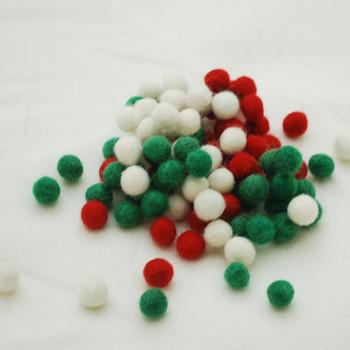 100% Wool Felt Balls - 100 Count - 1cm - Christmas Colours 01