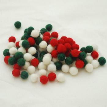 100% Wool Felt Balls - 100 Count - 1cm - Christmas Colours 03