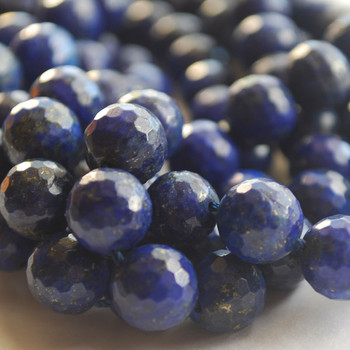 """High Quality Grade A Natural Lapis Lazuli (blue) Faceted Semi-Precious Gemstone Round Beads 6mm, 8mm, 10mm sizes - 15"""" long"""