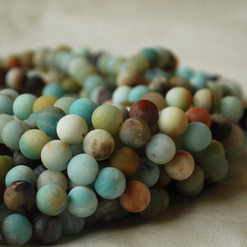 High Quality Grade A Natural Multi-colour Amazonite  Frosted / Matte Semi-precious Gemstone Round Beads 4mm, 6mm, 8mm, 10mm