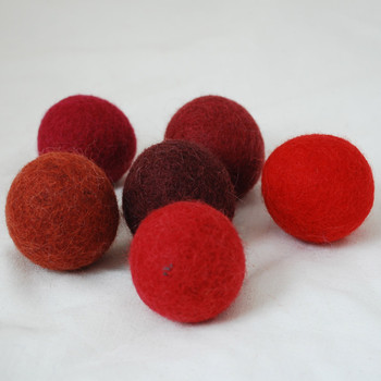 100% Wool Felt Balls - 6 Count - 4cm - Red Colours