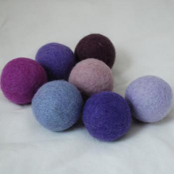 100% Wool Felt Balls - 7 Count - 4cm - Purple Colours