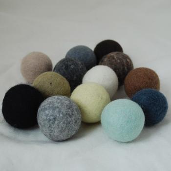 100% Wool Felt Balls - 13 Count - 4cm - Neutral Colours