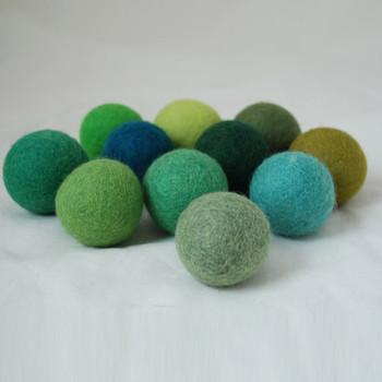 100% Wool Felt Balls - 11 Count - 4cm - Green Colours